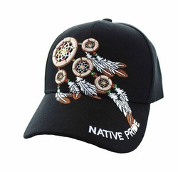 Wholesale Native Pride Indian Embroidered Logo Baseball Hats Caps - Native Pride Dream Catchers Velcro Cap (Solid Black) - VM252-21