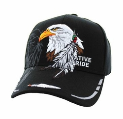 Wholesale Native Pride Indian Embroidered Logo Baseball Hats Caps - Native Pride Eagle Feather Velcro Cap (Solid Black) - VM149-04
