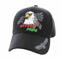 Wholesale Native Pride Indian Embroidered Logo Baseball Hats Caps - Native Pride Eagle Velcro Cap (Solid Black) - VM106-10