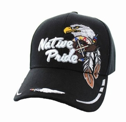 Wholesale Native Pride Indian Embroidered Logo Baseball Hats Caps - Native Pride Eagle Velcro Cap (Solid Black) - VM291-01
