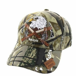 Wholesale Native Pride Indian Embroidered Logo Baseball Hats Caps - Native Pride Eagle Velcro Cap (Solid Hunting Camo) - VM692-06