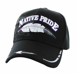 Wholesale Native Pride Indian Embroidered Logo Baseball Hats Caps - Native Pride Feather Velcro Cap (Solid Black) - VM038-03