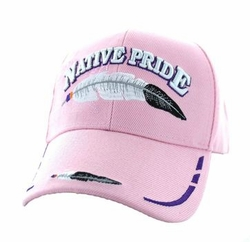 Wholesale Native Pride Indian Embroidered Logo Baseball Hats Caps - Native Pride Feather Velcro Cap (Solid Light Pink) - VM038-07