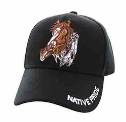 Wholesale Native Pride Indian Embroidered Logo Baseball Hats Caps - Native Pride Horse Velcro Cap (Solid Black) - VM567-01
