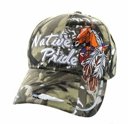 Wholesale Native Pride Indian Embroidered Logo Baseball Hats Caps - Native Pride Horse Velcro Cap (Solid Hunting Camo) - VM291-23