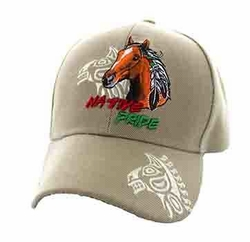 Wholesale Native Pride Indian Embroidered Logo Baseball Hats Caps - Native Pride Horse Velcro Cap (Solid Khaki) - VM106-04