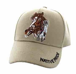 Wholesale Native Pride Indian Embroidered Logo Baseball Hats Caps - Native Pride Horse Velcro Cap (Solid Khaki) - VM567-02