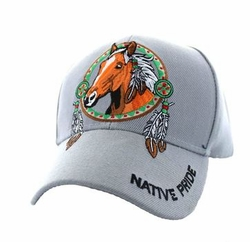 Wholesale Native Pride Indian Embroidered Logo Baseball Hats Caps - Native Pride Horse Velcro Cap (Solid Light Grey) - VM445-06