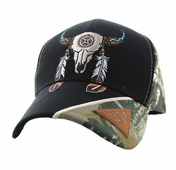 Wholesale Products - Native American Pride Logo Embroidered Baseball Hats Caps Cheap Bulk - Native Pride Skull Velcro Cap (Solid Black) - VM791