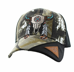 Wholesale Native American Pride Logo Embroidered Baseball Hats Caps Cheap Bulk - Skull Velcro Cap (Solid Hunting Camo) - VM791