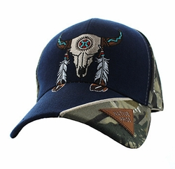 Wholesale Native American Pride Logo Embroidered Baseball Hats Caps Cheap Bulk - Skull Velcro Cap (Solid Navy) - VM791