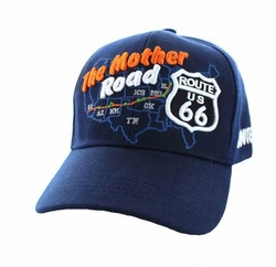 Wholesale Embroidered Logo Fashion Baseball Caps Hats - Route 66 Road Front Map Velcro Cap (Solid Navy) - VM397-12