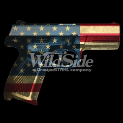 T-Shirts, Tees, Hats, Patriotic, American Flag, Cheap, Online, Wholesale -p-24163-17355-9x7-hand-gun-wcolored-usa-flag