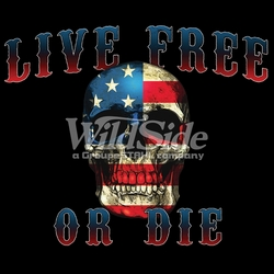 T-Shirts, Tees, Hats, Patriotic, American Flag, Cheap, Online, Wholesale - p-62543-16159-11x9-live-free-or-die-flag-skull