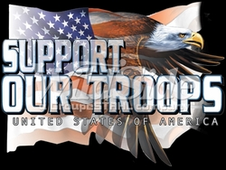 T-Shirts, Tees, Hats, Patriotic, American Flag, Cheap, Online, Wholesale - p-62701-10657-10x13-support-our-troops-eagle-flag
