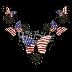 T-Shirts, Tees, Hats, Patriotic, American Flag, Cheap, Online, Wholesale -p-7530-16344-13x11-flag-butterflies