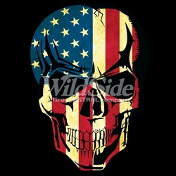 T-Shirts, Tees, Hats, Patriotic, American Flag, Cheap, Online, Wholesale -p-76694-17615-10x14-american-flag-skull