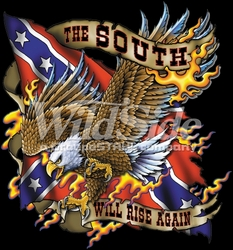 T-Shirts, Tees, Hats, Patriotic, American Flag, Cheap, Online, Wholesale -p-77992-10567-12x12-south-will-rise-again-eagle-rebel-flag