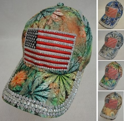 Patriotic Wholesale Merchandies Flea Market Bulk Supplier - HT1088. Lace Floral Hat with Bling [Flag]