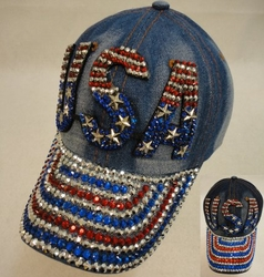 Patriotic Wholesale Merchandies Flea Market Bulk Supplier - HT1089. Denim Hat with Bling [USA] Red White Blue