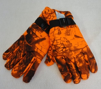 Realtree Hardwoods HD® Camo - Wholesale Bulk Supplier - WN137. Men's Fleece Gloves [Orange Hardwood Camo]