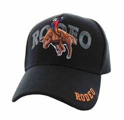 Wholesale Men's Hats and Caps in Bulk - Rodeo Bull Rider Velcro Cap (Solid Black) - VM336