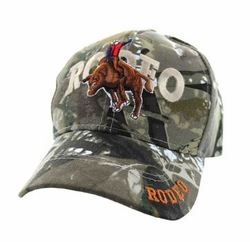 Wholesale Men's Hats and Caps in Bulk - Rodeo Bull Rider Velcro Cap (Solid Hunting Camo) - VM336