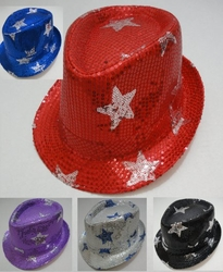 Wholesale Fashion Hats - HT314. Fedora Hat-Sequins with Stars