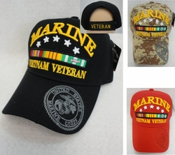 Wholesale Military Patriotic Hats and Caps Suppliers - HT2624ASST. Licensed Marines Hat [Vietnam Veteran] Assorted Colors