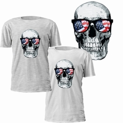 Patriotic Wholesalers, Skull Wearing American Flag Sunglasses T-Shirt