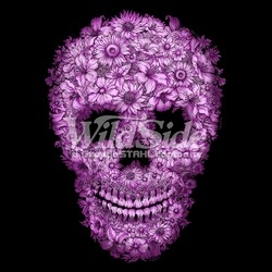 Wholesale Skulls, Bulk T Shirts, Wholesale T Shirts, Suppliers, Apparel - 16135-8x9-flowered-skull