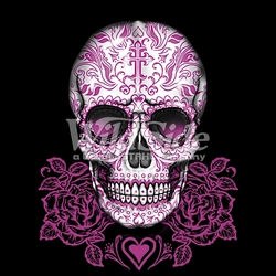 Wholesale Skulls, Bulk T Shirts, Wholesale T Shirts, Suppliers, Apparel - 16394-14x16-skull-pink-roses