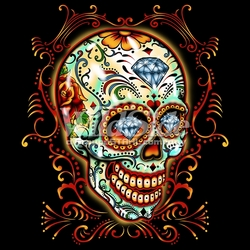 Wholesale Skulls, Bulk T Shirts, Wholesale T Shirts, Suppliers, Apparel - 16552-9x10-sugar-skull-pinstripes