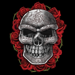 Wholesale Skulls, Bulk T Shirts, Wholesale T Shirts, Suppliers, Apparel - 17336-11x14-ornate-skull-roses