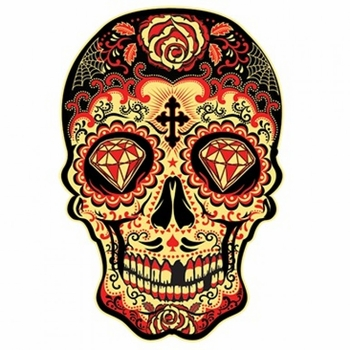 Skulls, Bulk T Shirts, Wholesale T Shirts, Suppliers, Apparel - Red Yellow Sugar Skull a12168d