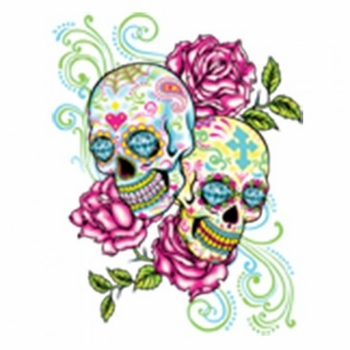Skulls, Bulk T Shirts, Wholesale T Shirts, Suppliers, Apparel - Sugar Skull  Roses Neon a10222c