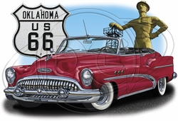 Oklahoma Route 66 Car T-Shirt Supplier, Wholesale Supplier of Funny T-Shirts in Bulk - POS-473