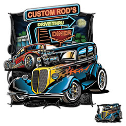 T-shirts Wholesale, Men's, Classic Cars, Wholesale Clothing, Car T-Shirts Wholesale Suppliers - CUSTOM ROD'S DRIVE THRU 20964HD1-2T