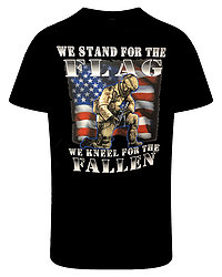 Wholesale Military Apparel T Shirts We Stand for the Flag Kneel for the Fallen Supplier - MSC Distributors