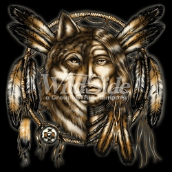 T Shirts Hats Wholesale Bulk Supplier Native American - p-3179-auto-sku-12x13-indian-and-wolf-dreamcatcher