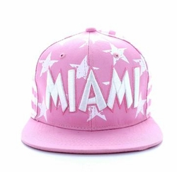 T Shirts Hats Wholesale Bulk Supplier, SM395-38 Miami Star Cotton Snapback (Light Pink & White)
