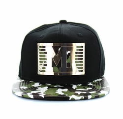 Wholesale Clothing, T Shirts Hats Wholesale Bulk Supplier, SM473-09 Miami City Metal Snapback (Black & Military Camo)