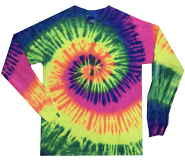 Wholesale Products - Men's Women's Adult Colortone Youth & Adult Tie Dye Long Sleeve T-Shirt - Neon Rainbow - MSC Distributors
