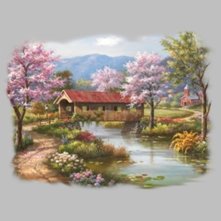 Spring Scene T Shirts Wholesale Bulk Graphic Printed Suppliers - 17114HL2