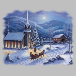 Winter Church Scene T Shirts Wholesale Bulk Graphic Printed Suppliers - 18360I2