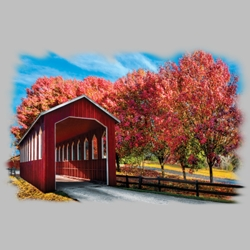 Covered Bridge Scene T Shirts Wholesale Bulk Graphic Printed Suppliers - 20640HL4