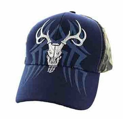 Wholesale Hunting Hats and Caps in Bulk - Hunting Velcro Cap (Navy & Hunting Camo) - VM648