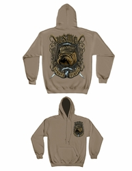 Wholesale Hoodies - Military, Patriotic, USMC Bull Dog with Crossed Swords Hooded Sweatshirt