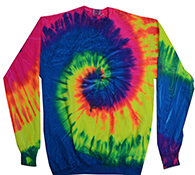 Wholesale Closeout Tie Dye Crewneck Sweatshirts Wholesale Prices - tie dye neon rainbow crew neck fleece