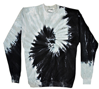 Wholesale Apparel Blank Bulk Cheap Discount Gildan Bulk, Apparel - Wholesale T Shirts Wholesale Apparel Designs Pullover Sweatshirts - tie_dye_spiral_black_silver_crew_neck_fleece